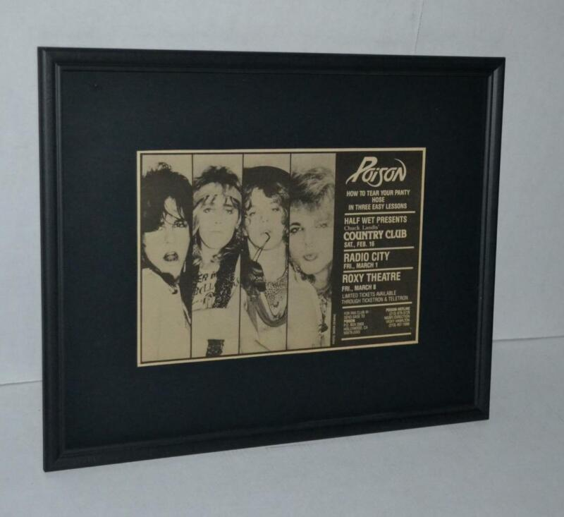 POISON 1985 EARLY SHOWS HOW TO TEAR YOUR PANTY HOSE FRAMED PROMO CONCERTS AD