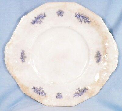 Antique Chelsea Blue Grape Cookie Cake Plate Semi Porcelain 1900 Handles AS IS 2