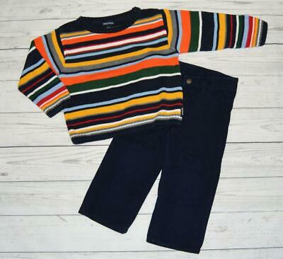 Toddler Boys 2T NAUTICA Outfit Set Knit Striped Sweater Blue Adjust Dress Pants