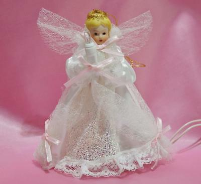 VINTAGE NEW LIGHTED WHITE ANGEL TREE TOPPER ORNAMENT PORCELAIN SATIN LACE~5 1/4