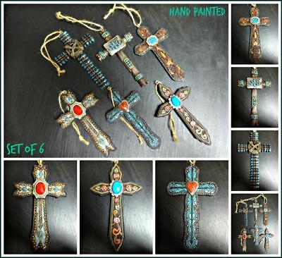 Rare Western Country Rustic Cowgirl Cross Christmas Ornament Decor Gift Set of 6 ()