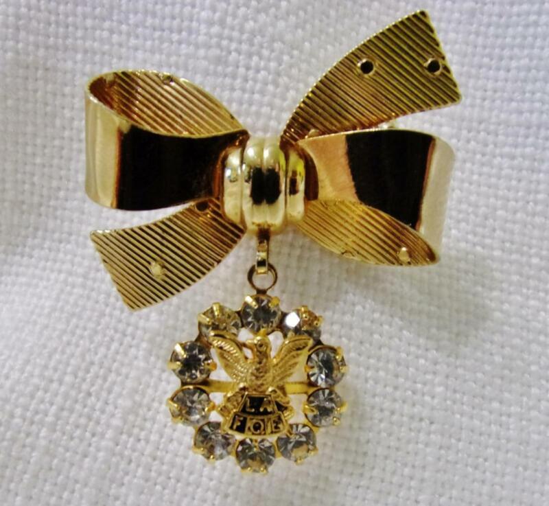 L.A. FOE (Ladies Auxiliary Eagles) Gold Tone Ribbon & Rhinestone Pin Brooch