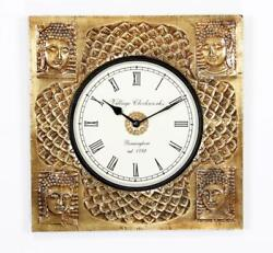 Indian Golden Buddha Square Wooden Black Antique  Wall Clock with Brass Finish
