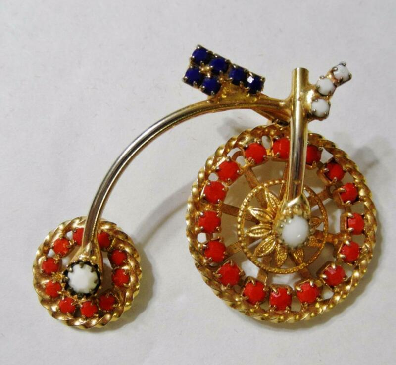 Vintage Gold Tone Tricycle w Red, White & Blue Rhinestone Brooch
