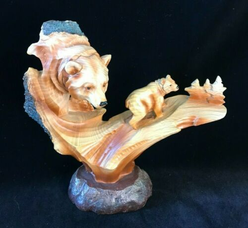 Grizzly Bear Resin Faux Wood  Sculpture 7.5""
