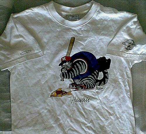 B Kliban Baseball Cat T-Shirt White YOUTH L Crazy Shirts Hawaii