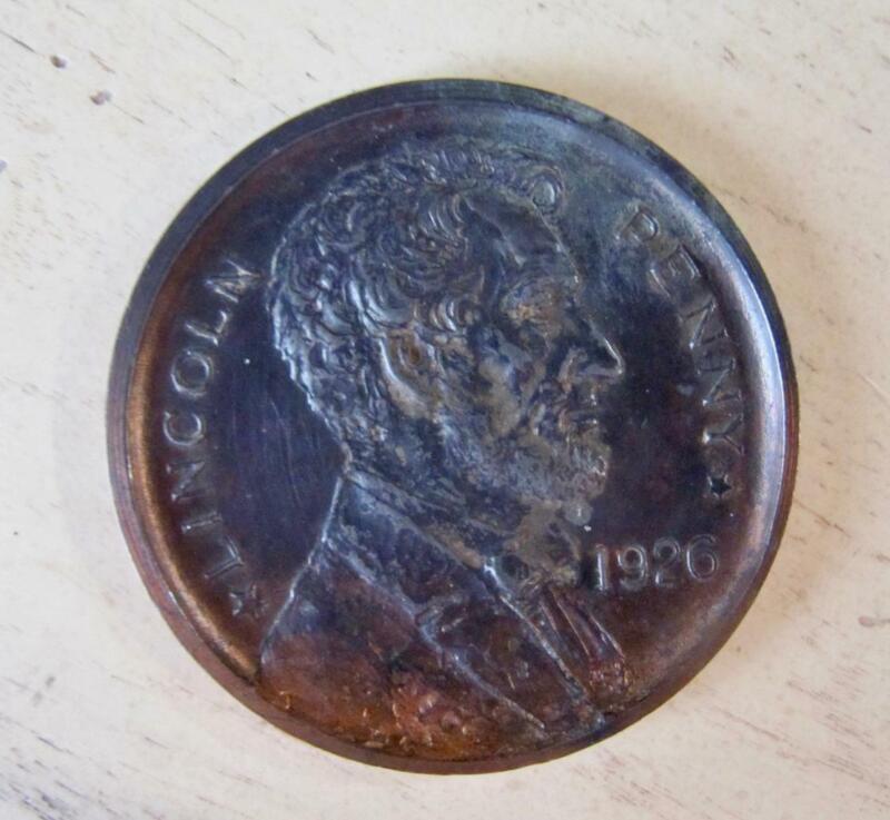 "Souvenir Lincoln Penny 1926 Paperweight Coin Capitol Bldg Washington DC 2 7/8"""
