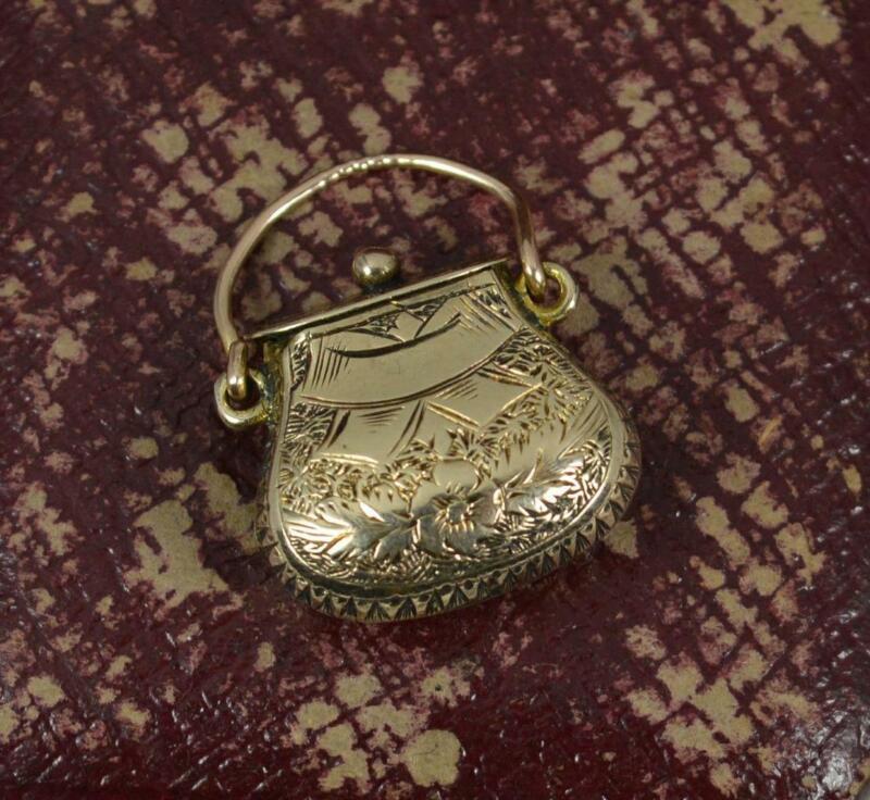 Rare Novelty Georgian 9ct Gold Purse Bag Shaped Box Pendant