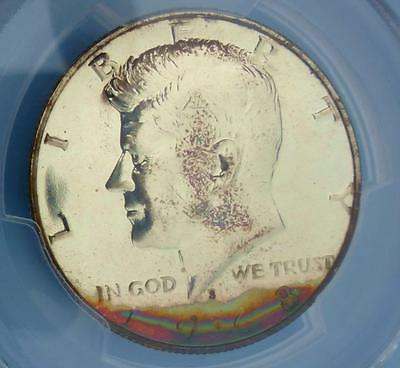 1968 S PCGS PR65 Rainbow Color toned GREEN & PINK Kennedy Half 2 Sided  Toning