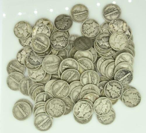 Mercury Dimes $10 Face Value 90% Silver 2 Rolls 100 Coin Bulk Lot Collection