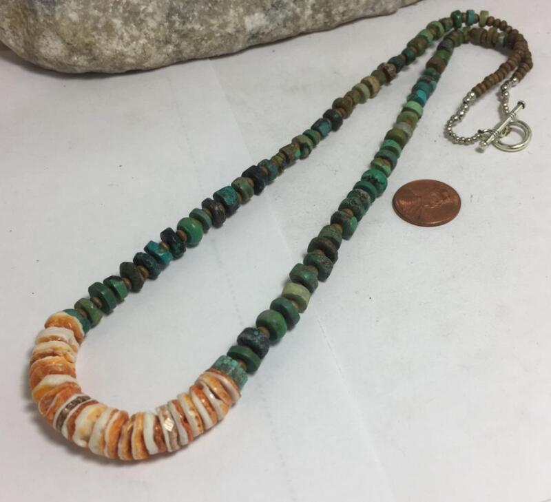 """old looking turquoise disc bead/ spiny oyster shell necklace/22"""" /(g141a-w0.5)"""