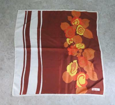 Vtg Paoli Abstract Autumn Colors 26 inch Square  Scarf,Brown Yellow Rust Cream