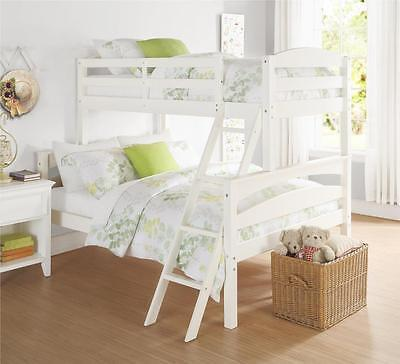 Twin over Full Bunk Bed Wood White Kids Bedroom Seperates to 2 Beds SHIPS FREE ()