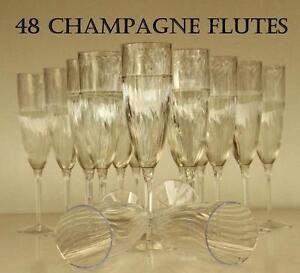 48 ELEGANT PREMIUM CHAMPAGNE FLUTES WINE GLASSES DISPOSABLE CLEAR PLASTIC DRINK