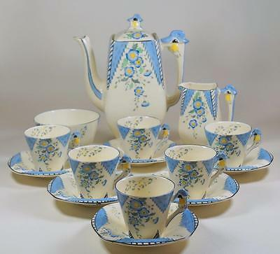 Burleigh Art Deco MAYTIME 15 Piece Coffee Set inc Pot, Cups & Saucers, Jug, Bowl