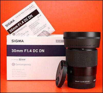Sigma 30mm F1.4 DC DN Contemporary Prime Lens - Sony E Mount - Box F/R Caps Hood