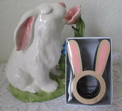 NWT MERI MERI Easter Bunny RABBIT EAR Wood NAPKIN RINGS Set /8 3 Sets Available, used for sale  Shipping to India