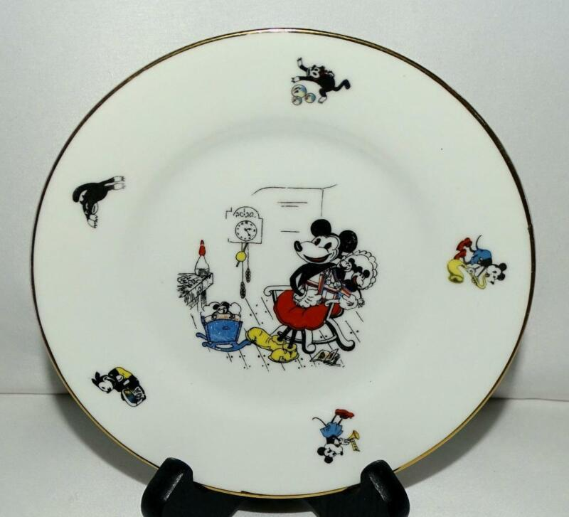 """EX DISNEY 1932 """"MICKEY MOUSE BAVARIAN CHINA PLATE""""+DOUBLE AUTHENTICITY IMPRINT👍"""