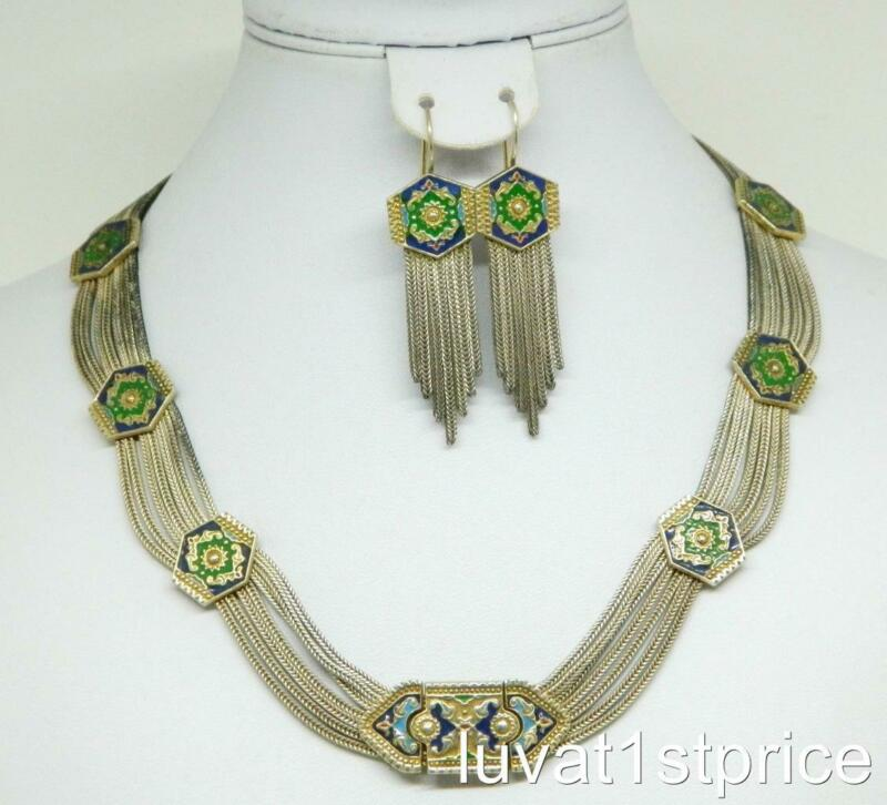 Sterling 925 Silver Multi Stand Enamel Stations Necklace & Earring Set Vintage