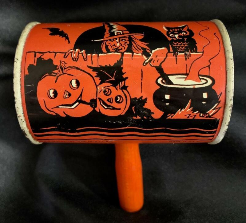 Vintage ~ Witch Tin Halloween Noisemaker w/ Wooden Handle Metal Cylinder Shaker