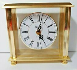 Bulova Desk Mantle Clock B1703 Gold Tone Finish Quartz Glass 6 x 6