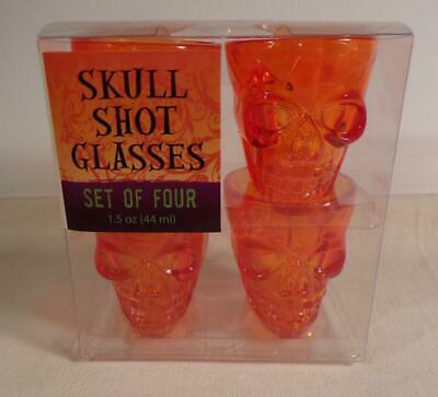 Halloween Skull Shot Glasses Set of 4 Orange Plastic ~ Partyware ~ - Halloween Shot Glasses Plastic