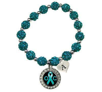 Custom Ovarian Cancer Awareness Teal Bling Bracelet Jewelry Choose Initial
