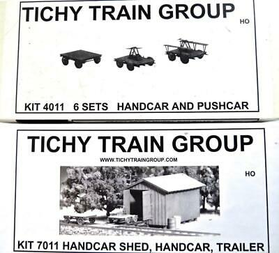 2 NEW Tichy TRAIN GROUP Kits 7011 Handcar Shed 4011 6 Sets of Handcars &Pushcars