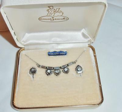 60s -70s Jewelry – Necklaces, Earrings, Rings, Bracelets  Vintage 1960's Rhinestone Necklace and Screw-back Earring Set by Amco   NICE ! $25.00 AT vintagedancer.com