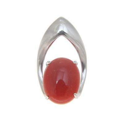 GENUINE NATURAL OVAL CABOCHON RED CORAL SLIDE PENDANT SOLID 14K WHITE GOLD Oval Ruby Slide