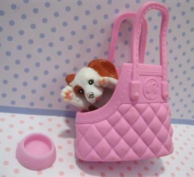 Barbie Fashionistas Doll on the go Pet Shop Puppy Dog & Pink Purse Tote Bag set