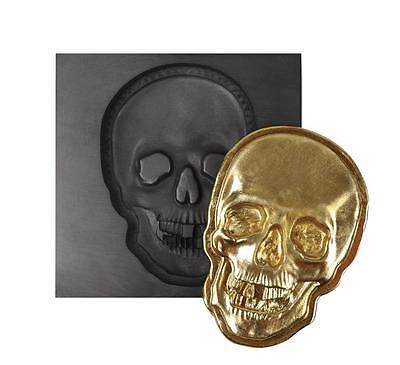 3D SMALL 2 oz SKULL FACE GRAPHITE INGOT MOLD FOR MELTING GOLD SILVER COPPER