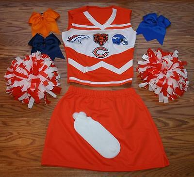 Chicago Custom Costumes (CUSTOM CHEERLEADER COSTUME OUTFIT HALLOWEEN CHICAGO BEARS DENVER BRONCOS S-)