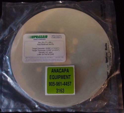 "Praxair Ceramics Sputtering Target Ba-Sr-Ti-Nb Oxide 99.9% 8""x 0.25"" (3163)"