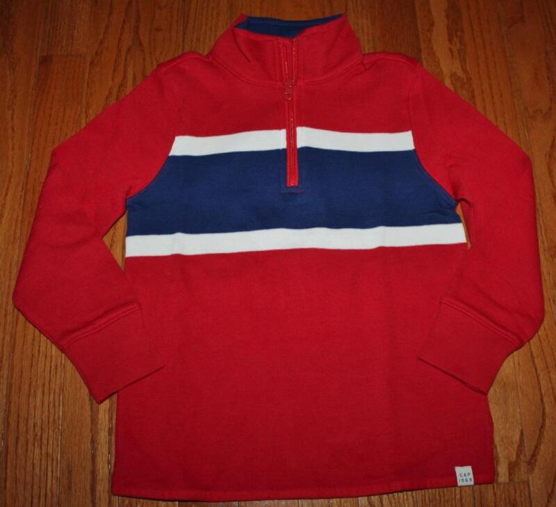 NEW NWT GAP Boys Half Zip Striped Pullover Sweater MockNeck Red or Black $29 *4W