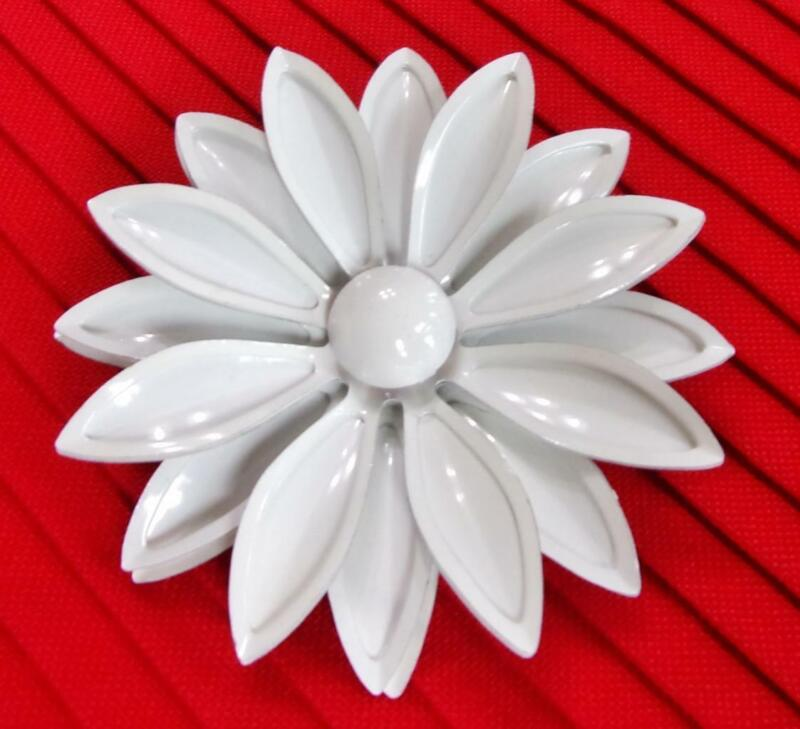 Tiered & Riveted Snow White Enameled Metal Floral Pin Brooch