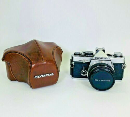 Olympus OM-2 35mm Film SLR Camera w 50mm f1.8 Lens and Case