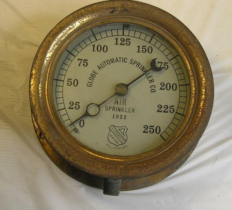 "ANTIQUE 1922 4"" SOLID BRASS ASHCROFT STEAM GAUGE-GLOBE AUTOMATIC SPRINKLER CO."