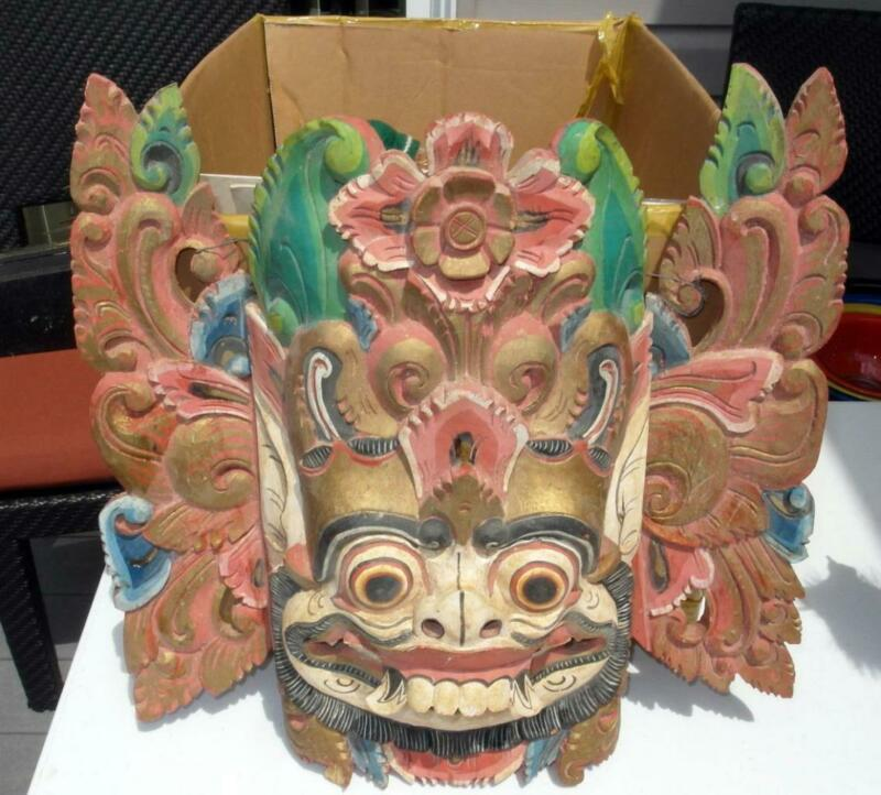 VINTAGE UNUSUAL CHINESE WOODEN HAND CARVED OPERA? MASK