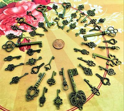 20 New Antique Keys Skeleton Keys Beads Steampunk Costume Bookmark Shadowbox F28