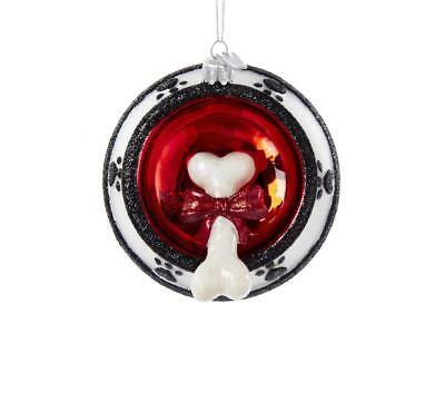 Kurt Adler Noble Gems Dog Bone in Bowl Christmas Tree Glass Ornament