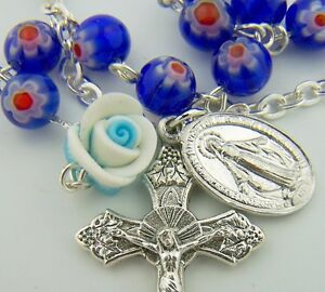 Ladies-Womens-Blue-Pearl-Miraculous-Rose-Catholic-Crucifix-Rosary-Bracelet