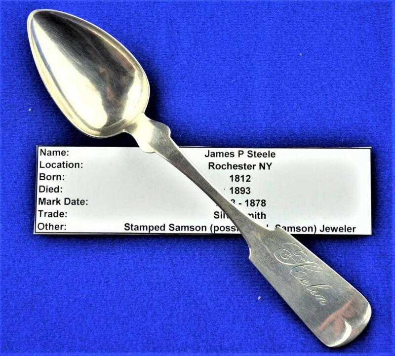 JAMES P STEELE COIN SILVER SPOON-ROCHESTER NY-1838-1878-ARM & HAMMER-R-EAGLE