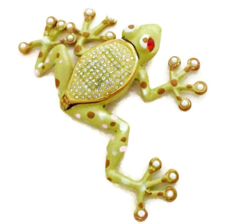 Tree Frog Trinket Box Bejeweled Pearls and Crystals Enamel Hand-Painted Green