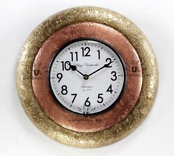Vintage Home Decor Antique Look Brass Engraving Work Wall Clock Ethnic IndiaA132