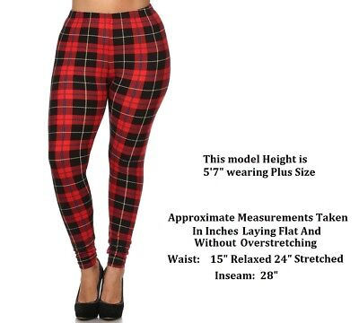 PLUS SIZE PLAID CHECKERED PRINT FOOTLESS LEGGINGS ONE SIZE QUEEN 14-22