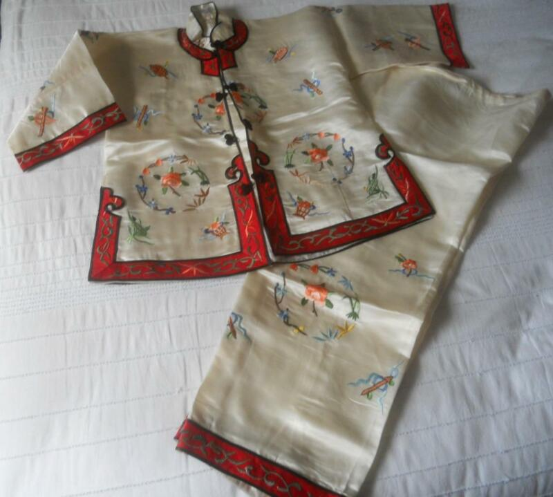 VINTAGE 60S RICHLY EMBROIDERED WHITE SILK CHINESE ORIENTAL JACKET PANTS 8 YEARS