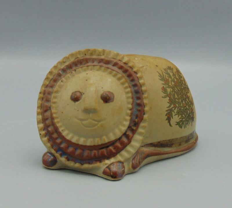 Vintage Takahashi Lion Japan Stoneware Coin/Piggy Bank