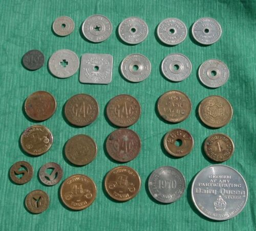 Vintage Lot 28 Tokens State Tax /  Arcade / Trade / Transit