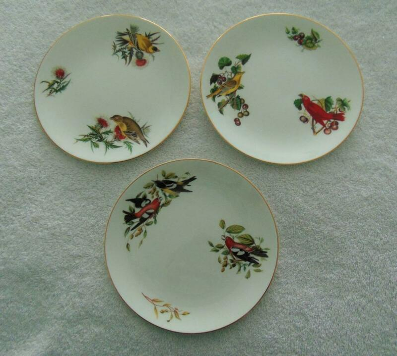 "ROYAL CHELSEA ""AUDUBON BIRDS"" SET OF 3 SALAD PLATES - LOVELY!"